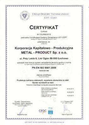 Metal-Product_certyfikat_ISO_2016